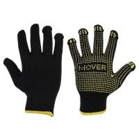 Рабочие трикотажные перчатки Mover с ПВХ точками 12 шт/уп, черный (NLX-PD005)