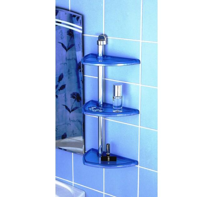 Полка в ванную угловая 3 яруса Prima Nova, алюминиевая трубка, голубой (N16-02)