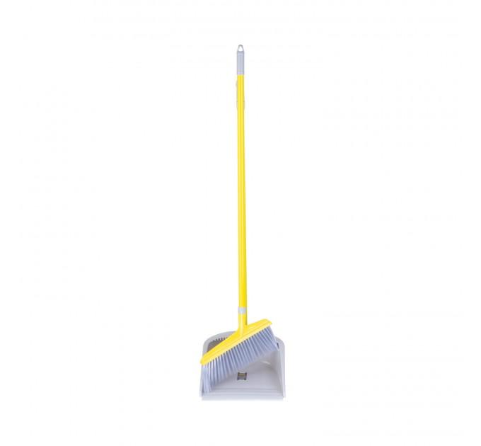 Набор совок и веник с длинной ручкой Eco Fabric PREMIUM, желто-серый (EF-0095-Y) - фото № 1