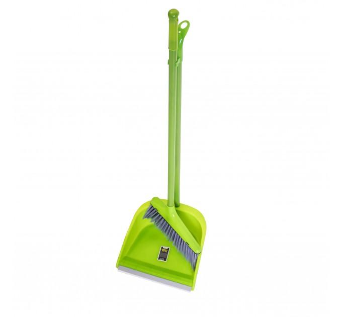 Набор совок и веник с длинной ручкой Eco Fabric, зеленый (EF-0075-G) - фото № 1