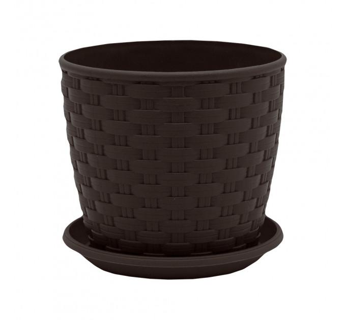 Вазон с подставкой Алеана РОТАНГ d16*15, темно-коричневый (114056) - фото № 1