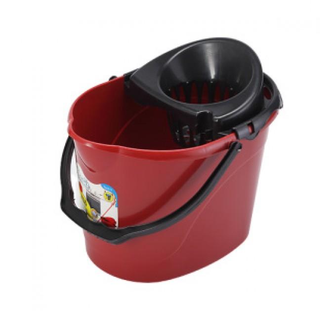 Ведро для уборки с отжимом OZHAVAN PLASTIK 14л, красный (N-53) - фото № 1