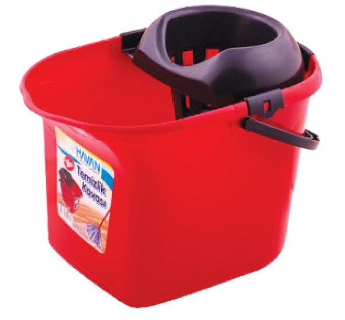 Ведро для уборки с отжимом OZHAVAN PLASTIK 16л, красный (N-52) - фото № 1
