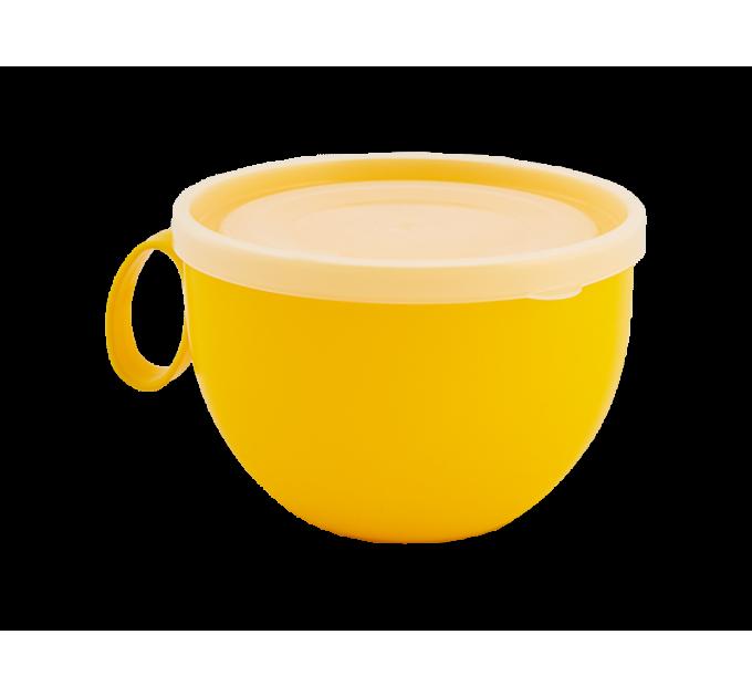Чашка с крышкой Алеана 0.5л, желтый/прозрачный (168006) - фото № 1