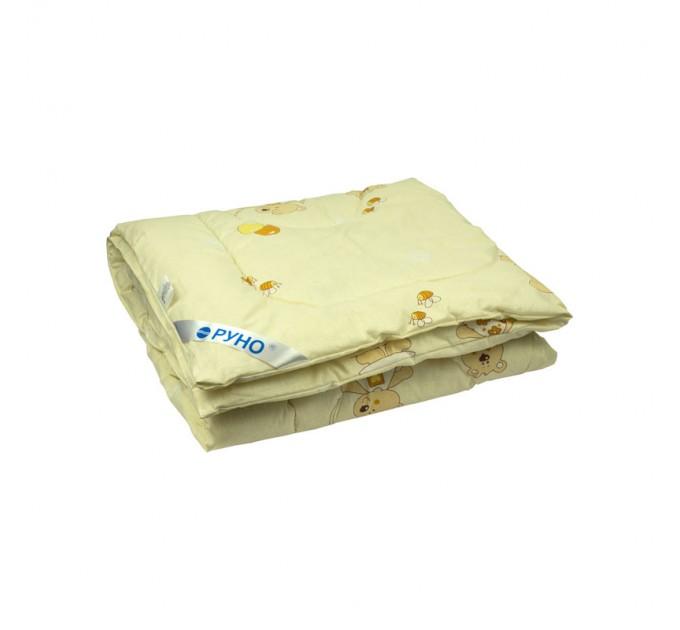 Одеяло детское РУНО 140х105, силиконовое, чехол бязь, бежевый - фото № 1
