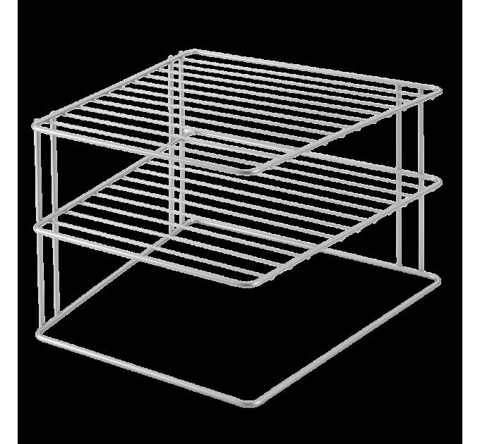 Полка угловая 25*25*19см PALIO METALTEX, серый металлик (364002) - фото № 1