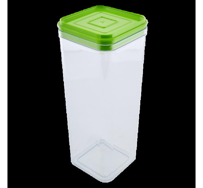 Емкость для сыпучих продуктов Алеана 2.25л, прозрачный/оливковый PS (168026) - фото № 1