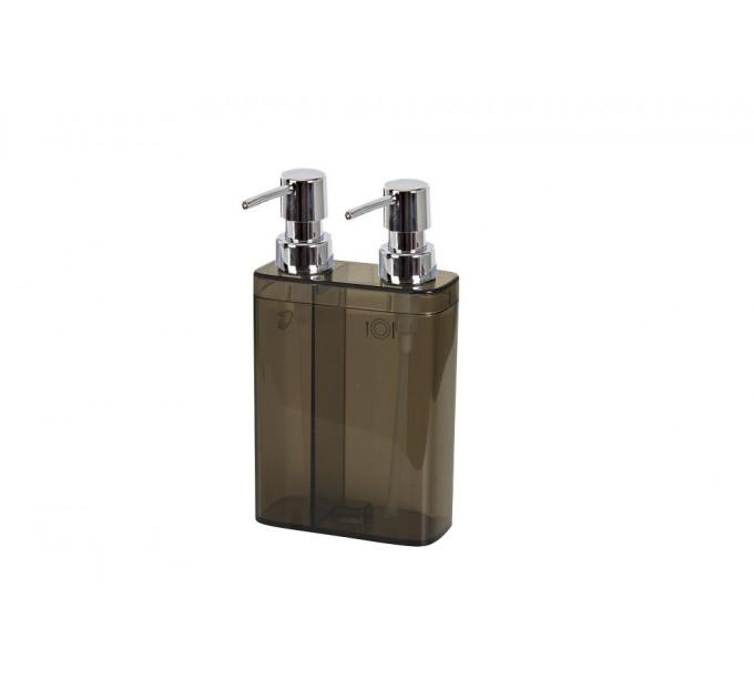 Дозатор для жидкого мыла двойной Prima Nova VIVA, прозрачно-черный (E11-25) - фото № 1