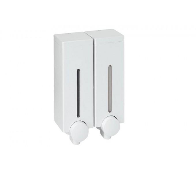 Дозатор для жидкого мыла двойной Prima Nova SLIM LINE, белый (SD14) - фото № 1
