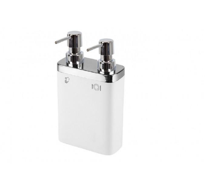 Дозатор для жидкого мыла двойной Prima Nova VIVA, белый (E11-01) - фото № 1