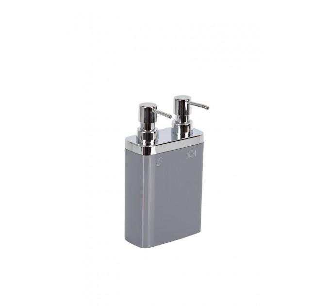 Дозатор для жидкого мыла двойной Prima Nova VIVA, серый (E11-07) - фото № 1