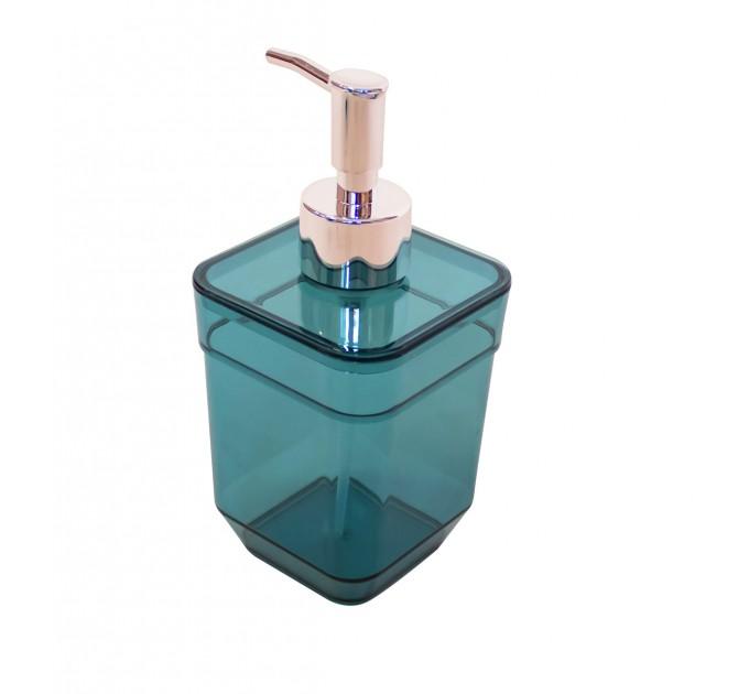 Дозатор для жидкого мыла Eco Fabric CUBE, прозрачно-бирюзовый (TRL-4023-TT) - фото № 1