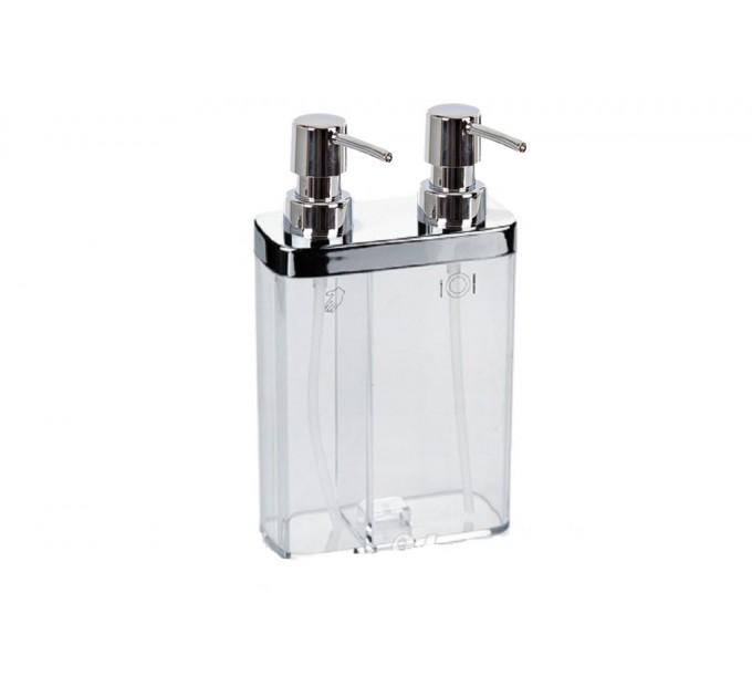 Дозатор для жидкого мыла двойной Prima Nova VIVA, прозрачный (E11-16)