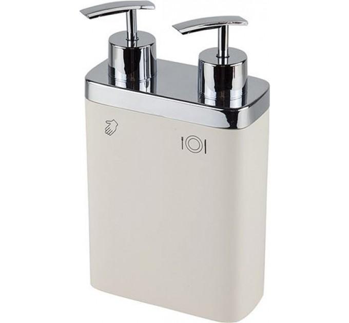 Дозатор для жидкого мыла двойной Prima Nova VIVA, бежевый (E11-09) - фото № 1