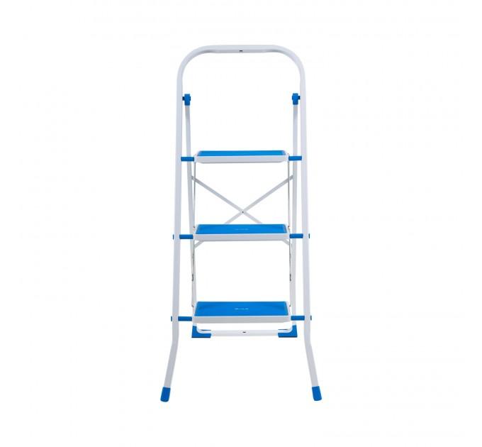 Лестница-стремянка Eurogold металлическая 3 ступ. с резиновым покрытием 30*20см, голубой (2123R Sky Blue) - фото № 2