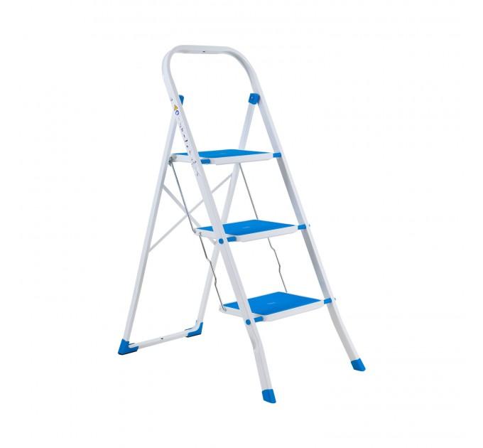 Лестница-стремянка Eurogold металлическая 3 ступ. с резиновым покрытием 30*20см, голубой (2123R Sky Blue) - фото № 1