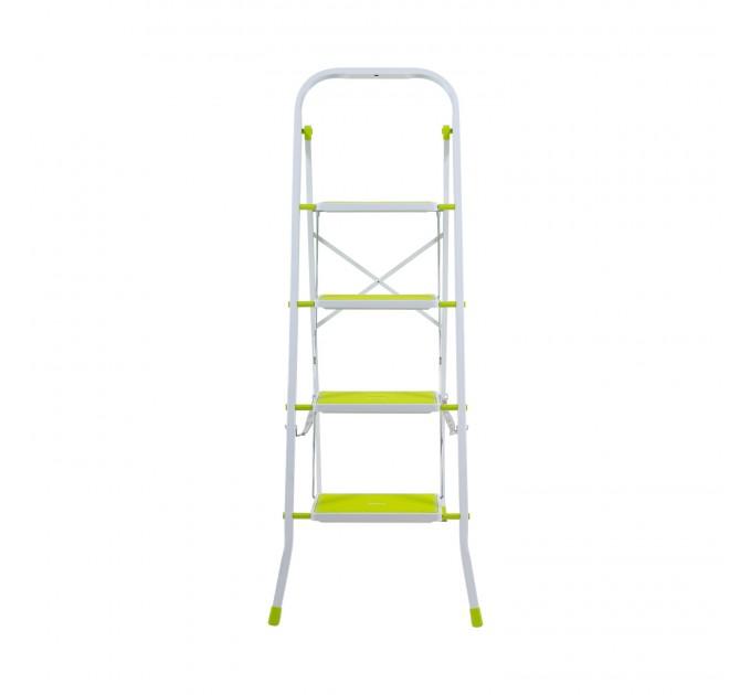Лестница-стремянка Eurogold металлическая 4 ступ. с резиновым покрытием 30*20см, салатовый (2124R Lime) - фото № 2