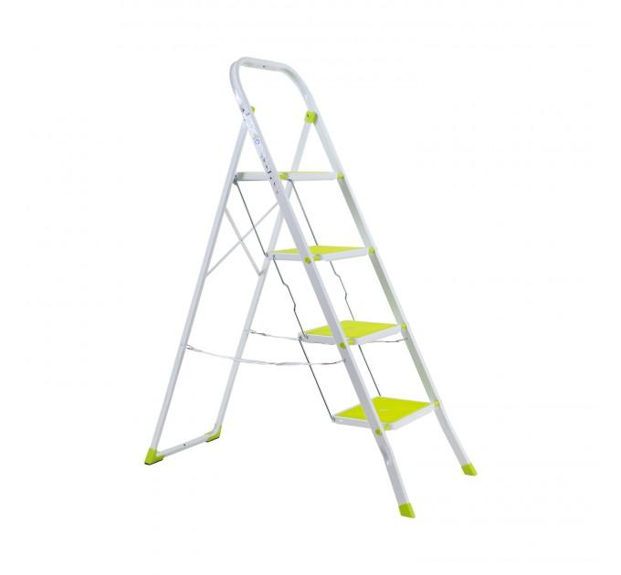 Лестница-стремянка Eurogold металлическая 4 ступ. с резиновым покрытием 30*20см, салатовый (2124R Lime) - фото № 1