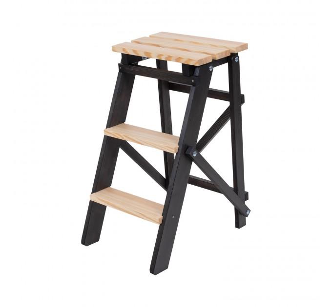 Стремянка бытовая деревянная LOFT 3 ступени, венге (LOFT-303) - фото № 2