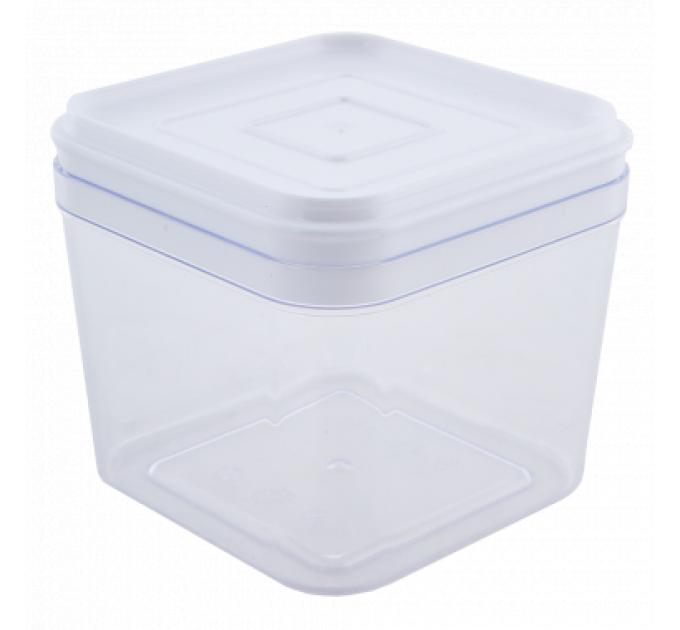 Емкость для сыпучих продуктов Алеана 0.6л, прозрачный/белый PS (168024) - фото № 1