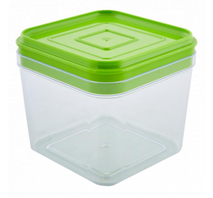 Емкость для сыпучих продуктов Алеана 0.6л, прозрачный/оливковый PS (168024) - фото № 1