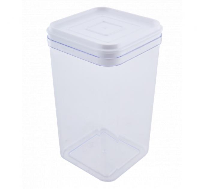 Емкость для сыпучих продуктов Алеана 1.3л, прозрачный/белый PS (168025) - фото № 1