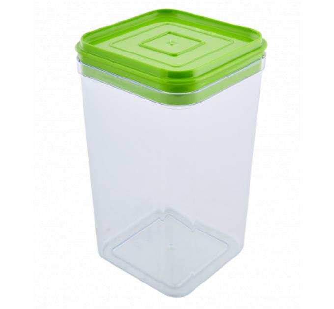 Емкость для сыпучих продуктов Алеана 1.3л, прозрачный/оливковый PS (168025) - фото № 1
