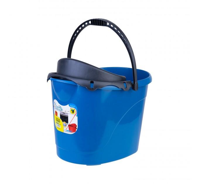 Ведро для уборки с отжимом OZHAVAN PLASTIK 14л, синий (N-53) - фото № 1