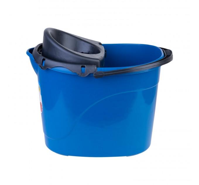 Ведро для уборки с отжимом OZHAVAN PLASTIK 14л, синий (N-53) - фото № 3