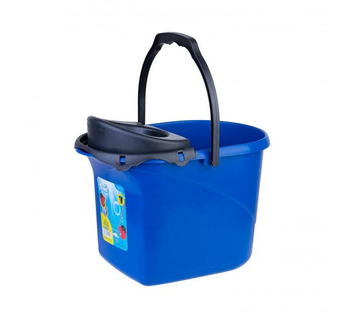 Ведро для уборки с отжимом OZHAVAN PLASTIK 16л, синий (N-52) - фото № 1