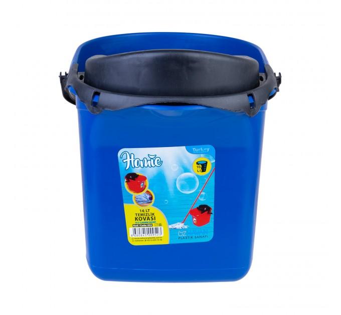 Ведро для уборки с отжимом OZHAVAN PLASTIK 16л, синий (N-52) - фото № 2
