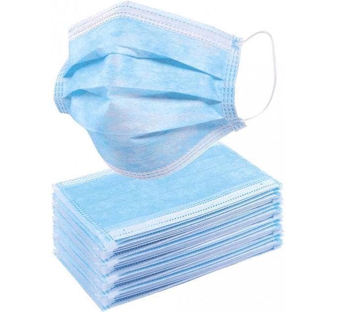 Медицинские маски трехслойные нестерильные 40 шт./уп., голубой (M-40) - фото № 1