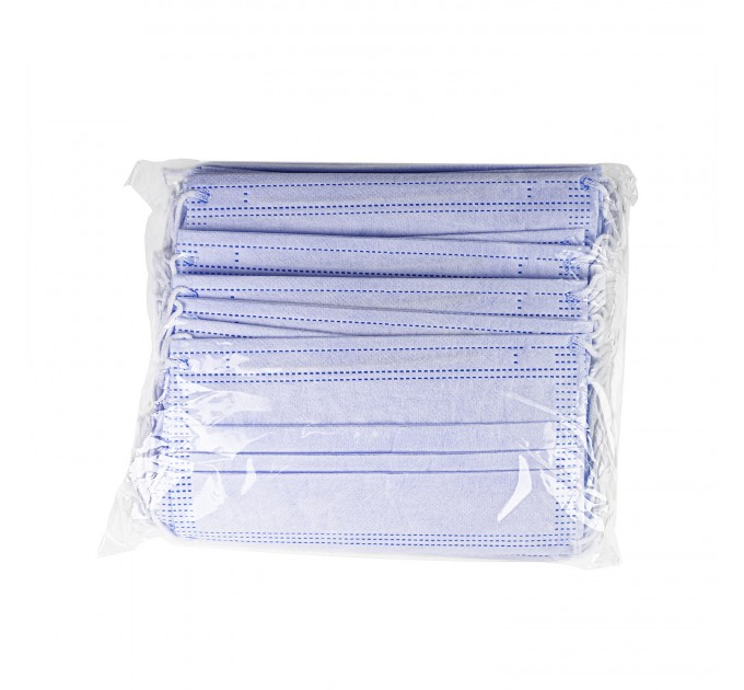 Медицинские маски трехслойные нестерильные 40 шт./уп., голубой (M-40) - фото № 3