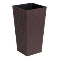 Вазон Алеана РОТАНГ квадратный 22*22*41.5см, темно-коричневый (115040)