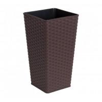 Вазон Алеана РОТАНГ квадратный 16*16*30 см, темно-коричневый (115039)