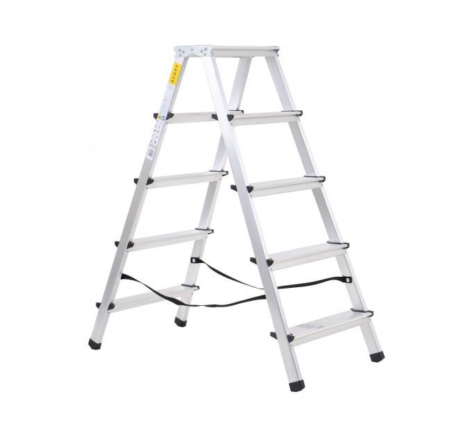 Лестница-стремянка Aloft алюминиевая двухсторонняя, 2*5 ступ., (ALDD5) - фото № 1