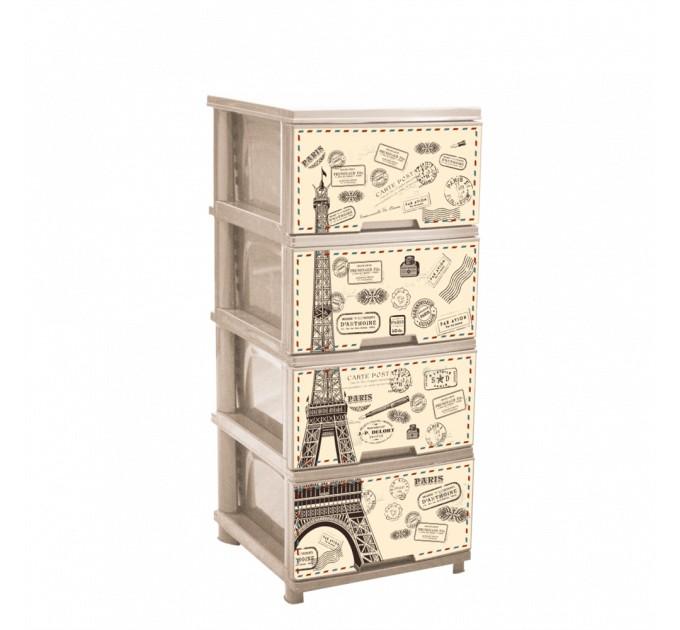 Комод на 4 ящика Алеана с декором, крем./париж (123093) - фото № 1