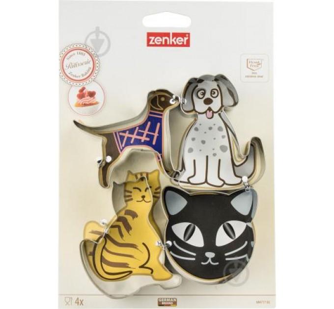 """Формы для вырезания печенья Fackelmann """"коты и собаки"""" 4шт, сталь (684717) - фото № 1"""
