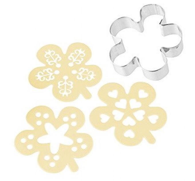 """Форма для вырезания печенья Fackelmann CANDY """"цветок"""" с декораторами 3шт, сталь (42882) - фото № 1"""