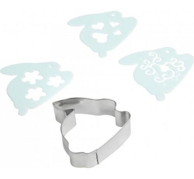 Форма для вырезания печенья Fackelmann CANDY Зайчик с декораторами 3шт, сталь/пластик (684726) - фото № 1