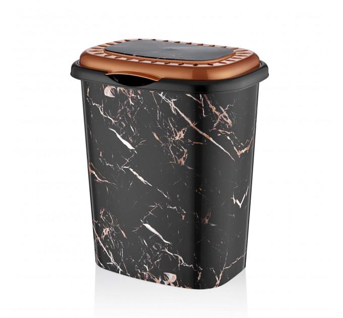 Корзина для белья овальная с крышкой OZ-ER PLastik GO GO 41л, черный мрамор (D0012-X129) - фото № 1
