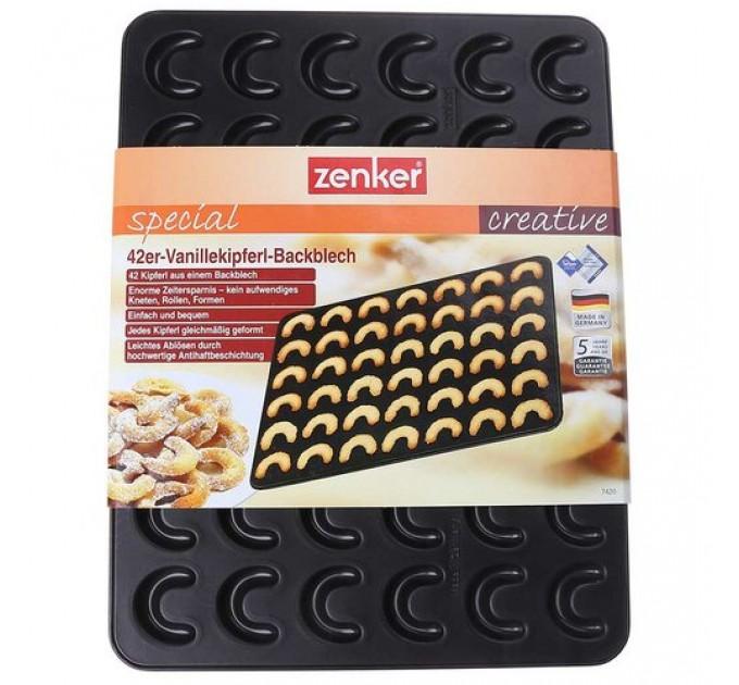 """Форма для выпечки печенья Fackelmann ZENKER """"рогалики"""" 42*32.5 см с антипригарным покрытием, сталь (7420) - фото № 1"""