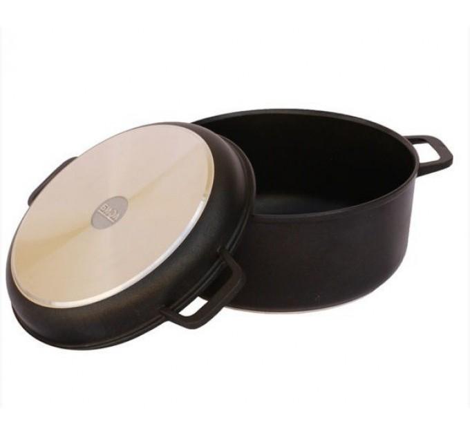 Кастрюля и крышка-сковорода БИОЛ 7л, антипригарное покрытие (K702P) - фото № 1
