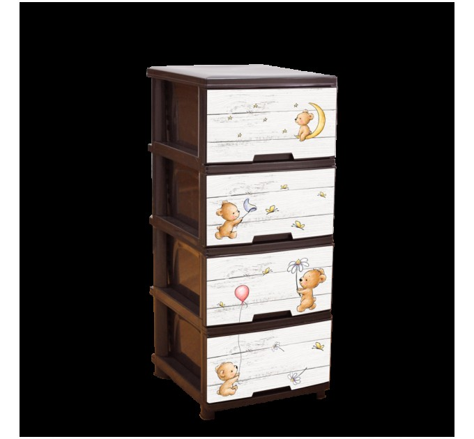 Комод на 4 ящика Алеана с декором, темно-коричневый/медведи (123093)