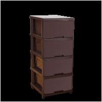 "Комод на 4 ящика Алеана ""Ротанг"", темно-коричневый (123094)"