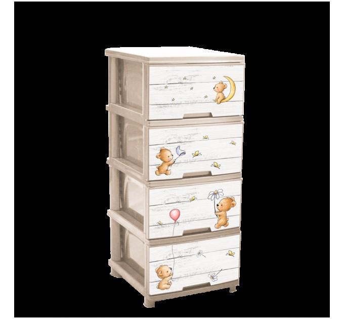 Комод на 4 ящика Алеана с декором, крем./медведи (123093)