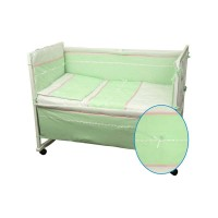 Набор в детскую кровать РУНО 60х120, салатовый с желтой полоской