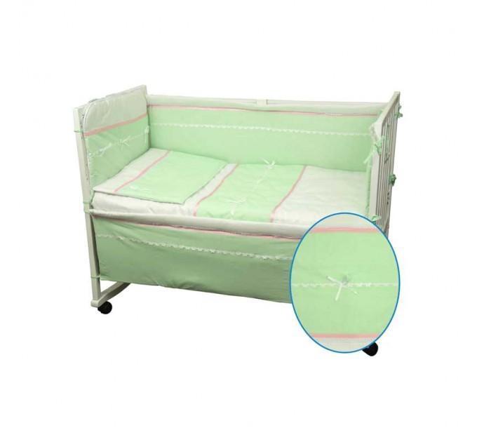 Набор в детскую кровать РУНО 60х120, салатовый с желтой полоской - фото № 1