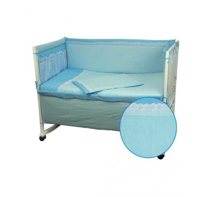 Ограждение защитное в детскую кровать РУНО с кружевом и приборником, голубой - фото № 1