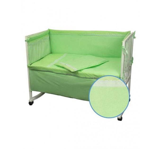 Ограждение защитное в детскую кровать РУНО с кружевом и приборником, салатовый - фото № 1